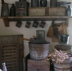 Love primitives!!! Old wood buckets, dry goods bin...just fun!
