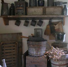 Love primitives!!! Old wood buckets, dry goods bin...just fun!