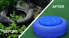 Turn Old Tires Into Colorful Outdoors Storage Seats This is a great idea! I love recycling! Tire Seats, Tire Chairs, Cool Chairs, Rattan Chairs, Wooden Chairs, Outdoor Chairs, Dining Chairs, Outdoor Projects, Diy Projects
