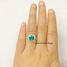 Round Emerald Engagement Ring Pave Moissanite 14K White Gold 7mm Art Deco - Lord of Gem Rings - 1