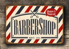 Thank you for visiting my shop. https://www.etsy.com/shop/ClassicMetalSigns --------HOW TO ORDER------- ✔ Select your required size from the dropdown menu. ✔ Select add to cart. --------PRODUCT INFORMATION------- Barber Shop Sign. This is an original design by me which has been