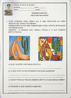 Compartilhando Ideias: Sequência didática Romero Brito 5th Grade Art, Sistema Solar, Graffiti Art, Art School, Art Education, Professor, Art For Kids, Art Projects, Teaching
