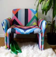 """A salvaged chair, re-upholstered by Tango & James in """"Summer Camp"""" Print."""