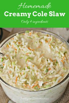 Only 4 ingredients to a big bowl of delicious … Homemade Creamy Cole Slaw recipe. Only 4 ingredients to a big bowl of delicious homemade creamy cole slaw. Perfect for hot dogs, BBQ side dish and more. Coslaw Recipes, Side Dish Recipes, Salad Recipes, Cooking Recipes, Chicken Recipes, Turkey Recipes, Potato Recipes, Ramen Recipes, Carrot Recipes