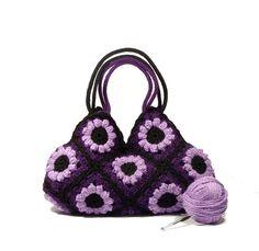 Purpurrote Blume Handtasche gehäkelt häkeln Tasche von zolayka, $85.00