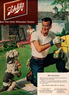 vintage man best friend 1951 advertisement schlitz beer. $12.95, via Etsy.