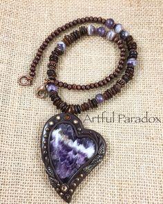 Amethyst heart necklace  Facebook.com/Artfulparadox