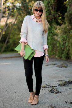 Pink button down + grey pullover + black skinnies + nude flats + bright purse