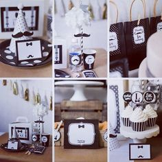 Little man party Black • White • Gold •Hessian brown #inspiration #party #babyshower #1stbirthday #smalldetails #mustacheparty #bowties #tassels #intimateparties #evedeso #eventdesignsource - posted by AdornedEvents https://www.instagram.com/adornedeventsuk. See more Baby Shower Designs at http://Evedeso.com