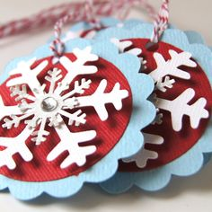 Snowflake Christmas Tags or Package Labels . White, Red & Silver on Splash (Qty. 6)