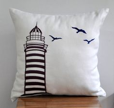 """Lighthouse - Throw Pillow Cover - 18"""" x 18"""" Decorative Pillow Cover - White Linen Fabric with Purple  LighthouseEmbroidery $22"""