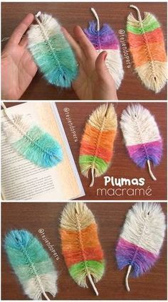 Plumas macrame de colores paso a paso 😍 Macrame feathers tutorial 😃 arts and crafts and projects Pom Pom Crafts, Yarn Crafts, Diy And Crafts, Crochet Feather, Crochet Cord, Diy Crochet, Crochet Doilies, Crochet Flower Patterns, Macrame Patterns