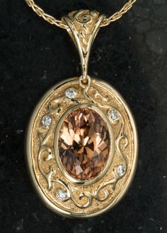 Peach natural zircon in 18K yellow gold bas relief pandant  | Handmade Custom Jewelry by Hunt Country Jewelers