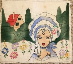 Vintage Embroidered Tinted Linen Woman with Flowers, Cottage Pillow Top