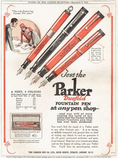 A vintage magazine page featuring full page advertisement for the Parker Duofold fountain pen This is an original and genuine magazine page,