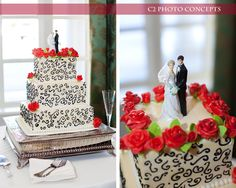 Black and white cake.  Photo courtesy of C2 Photo Concepts.