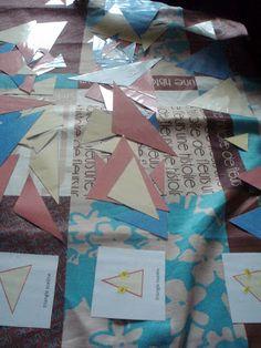 jeu du détective: apprendre par la pratique ce qu'est un adjectif en retrouvant le bon triangle, Grammaire - Montessori