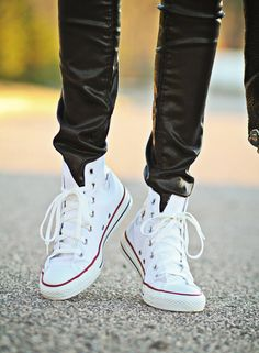 Chuck Taylor Converse Hi-Top Sneakers    bad thing about white shoes is that they get dirty    good thing about them, you can decorate them to your heart's content :)