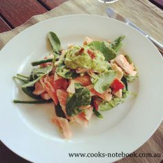 Salmon salad with avocado cream - www.cooks-notebook.com.au