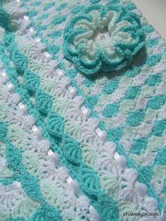 "Crochet Baby Blanket with 3D Crochet Flower, Beautiful Baby Afghan ""Turquoise Sea Shell"" Baby Shower Gift, Crochet Lyubava, via Etsy."