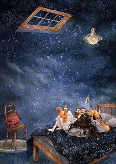 별 내리는 밤 (starry night) te amo art, illustration art 및 anime Art Mignon, Forest Girl, Art Et Illustration, Moon Art, Anime Art Girl, Cartoon Art, Cute Wallpapers, Cute Art, Fantasy Art