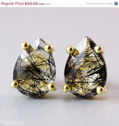SALE Black Rutile Quartz Stud Earrings  Tourmalinated by OhKuol, $50.15