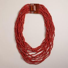 One of my favorite discoveries at WorldMarket.com: Red Chunky Wood Clasp Necklace