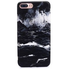 Marble Case for iPhone 8 Plus 7 Plus Black ($29) ❤ liked on Polyvore featuring accessories, tech accessories and phones