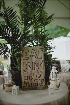 Eat, drink, and be married sign. #weddingsign #diy #weddingchicks Captured By: Ray + Kelly Photography ---> http://www.weddingchicks.com/2014/05/02/3-reasons-why-wedding-buffets-rock/