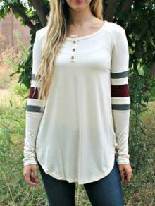 camiseta manga larga rayas con botones-blanco