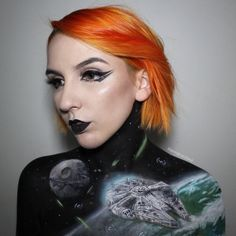 Star Wars Millennium Falcon. Fantasy and Movie Makeup Drawings on her own body, come see the video. By Georgina Ryland.