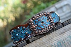 Turquoise Leather Dog Collar ( Western leather dog collar ~ bling collar ~ tuquoise copper dog collar ~ vintage dog collar )The Diamond Dogs