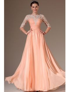 A-line/Princess 3/4 Sleeves Scoop Ruched Applique Floor-length Chiffon Tulle Dress