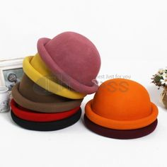 Candy-colored decorative woolen hat Bowler Hat, Candy Colors, Tray, Headpieces, Hats, Fascinators, Hat, Head Coverings, Trays