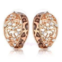 Women's Crystal Leopard Print Studs Earrings Hollowed Flower Free Shipping  CE17 #Bearfamilybirth #DropDangle