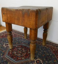 Antique Rustic Early 20th Century Butcher Block Table Turned Legs Solid Maple #RusticPrimitive