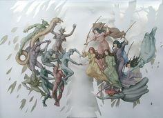"""Vanni Cuoghi at La Biennale di Venezia 2011    """"Pace in Terra?"""", 2011  Acquerello su carta, cm 63 x 95"""
