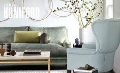 James Huniford Gray Interior, Interior Styling, Interior Design, Interior Accessories, Living Room Lighting, Living Room Decor, Living Spaces, Upholstery Fabric Online, Fabric Sofa