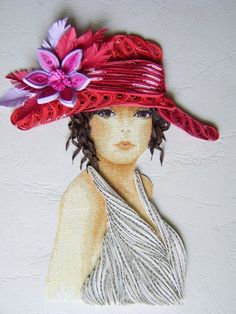 Quilled hat, hair and dress!