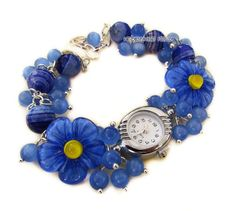 """""""Синеглазка"""" наручные часы с бусинами лэмпворк - синий,часы,часики,женские часы"""