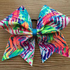 Neon Tribal Paint Splatter Chevron Cheer Bow!