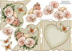 """Roses and butterfly card front, insert, decoupage and verse, all in one.    Creates a diagonal over the edge card with decoupage, approximately 5"""" square.  No unsightly white on the reverse of the card front, as you are provided with a matching inside cover.    Very versatile sheet, suitable for so many occasions, e.g. floral, birthday, wedding anniversary, Valentine's Day, Mother's Day etc.    For best results, print on photo paper, then stick the base card to card stock"""