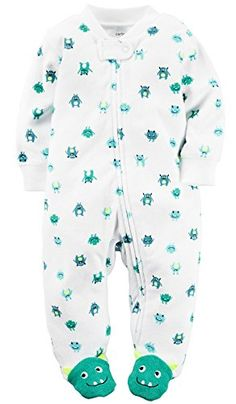Carters Baby Boys Terry ZipUp Sleep  Play 9 Months Turquoise Aliens * Be sure to check out this awesome product. (This is an affiliate link) #BabyBoyFootiesandRompers