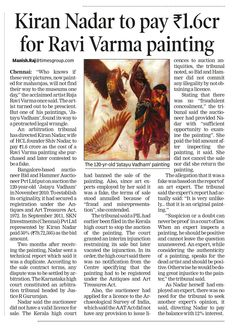 Kiran Nadar to pay up Rs to Bid & Hammer for Ravi Varma painting: Times of India, December Chennai Raja Ravi Varma, Times Of India, December 2014, Chennai, Pictures, Painting, Art, Photos, Art Background
