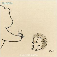 hedgehog coffee, cheer up little guy ©Nami Nishikawa Hedgehog Illustration, Animal Art, Sketches, Art Drawings, Drawings, Art, Cute Drawings, Cute Illustration, Hedgehog Drawing