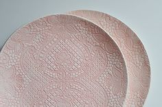 pink lace ceramic wedding plate for wedding party by ignataceramics on Etsy