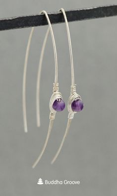 Sleek and delicate, these fashionable threader earrings get a little bit of spiritual energy with genuine amethyst gemstone beads. Amethyst is a stone of tranquility, spiritual growth, and protection. It soothes the soul while connecting you to the divine energy within. #amethyst #earrings