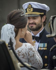 The new Swedish Princess wore her hair in a classic chignon at her and Prince Carl Philip's wedding.