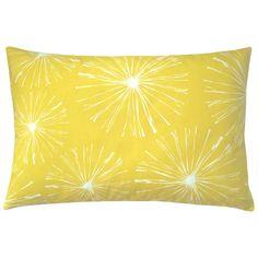 Kissen SPARKS mit großen Feuerwerksblumen in zitronengelb und weiß