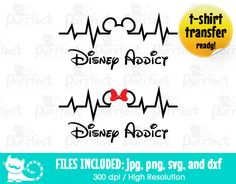 Disney Addict Couple Design SVG, Mickey and Minnie Life Line SVG, Disney Digital Cut Files in svg, dxf, png and jpg, Printable Clipart